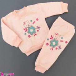 ست بلوز و شلوار گرم توکُرکی بچگانه گلبهی خرس Baby warm clothes set
