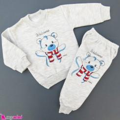 ست بلوز و شلوار گرم توکُرکی بچگانه طوسی خرس Baby warm clothes set