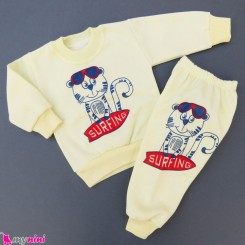 ست بلوز و شلوار گرم توکُرکی بچگانه لیمویی ببر Baby warm clothes set
