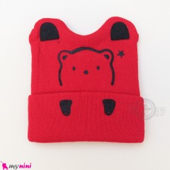 کلاه بافت گوشدار 2 لایه طرح خرسی قرمز وارداتی Baby warm hat