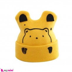 کلاه بافت گوشدار 2 لایه طرح خرسی زرد وارداتی Baby warm hat