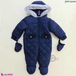 سرهمی گرم کاپشنی کلاهدار 3 لایه مارک اورجینال جان لوییس سرمه ای John lewis baby warm jumpsuits