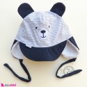 کلاه روگوشی داخل خزدار نقابدار گرم سرمه ای خرس  Baby warm hats
