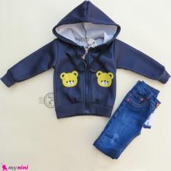 سویشرت کلاهدار گرم توکُرکی بچگانه سرمه ای خرس Baby warm clothes set