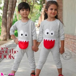 سرهمی بچگانه نخی دورس طوسی غول Baby warm cotton sleepsuits
