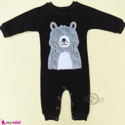 سرهمی بچگانه نخی دورس مشکی خرس پولیشی Baby warm cotton sleepsuits