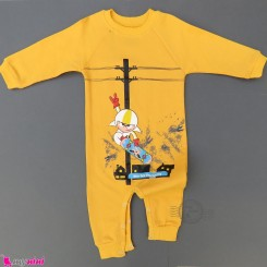 سرهمی بچگانه نخی دورس زرد اسکیت سوار Baby warm cotton sleepsuits