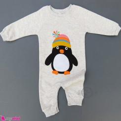 سرهمی بچگانه نخی دورس طوسی پنگوئن Baby warm cotton sleepsuits