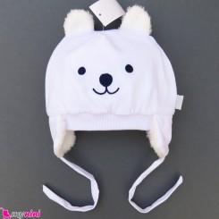 کلاه روگوشی گرم نوزاد داخل خزدار خرس پو سفید Baby warm hats