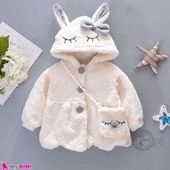 پالتو کلاه دار و کیف خز 2 تکه طرح خرگوش شیری وارداتی Baby warm jacket