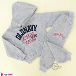 ست هودی و شلوار گرم توکُرکی بچگانه اسپرت طوسی روشن Baby warm clothes set