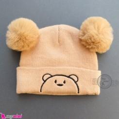 کلاه بافت پوم پوم 2 لایه خرسی نسکافه ای وارداتی Baby warm hat