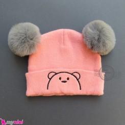 کلاه بافت پوم پوم 2 لایه خرسی صورتی وارداتی Baby warm hat