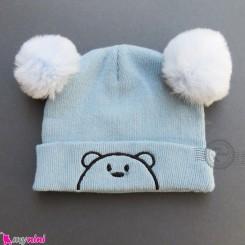 کلاه بافت پوم پوم 2 لایه خرسی آبی وارداتی Baby warm hat