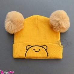کلاه بافت پوم پوم 2 لایه خرسی زرد وارداتی Baby warm hat