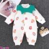 سرهمی گرم 3 لایه پیشبنددار نوزادی طرح توت فرنگی Baby warm sleepsuits