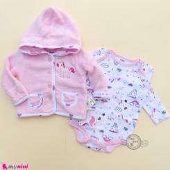 ست سویشرت حوله ای 2 تکه مارک اورجینال سی تی پی طرح یونی کورن 0 تا 3 ماه baby hooded cardigan set
