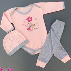 ست 3 تکه بادی بلند و شلوار و کلاه صورتی طوسی خرگوش کوچولو Baby clothes set