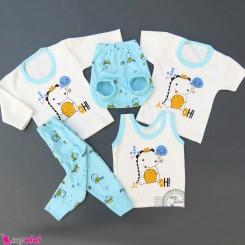 ست لباس 5 تکه نوزاد و کودک آبی دایناسور Baby clothes set