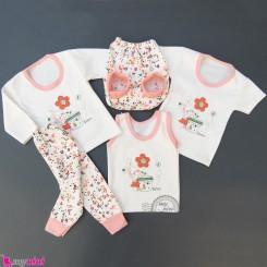 ست لباس 5 تکه نوزاد و کودک صورتی خرگوش و گل Baby clothes set