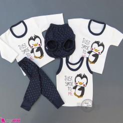 ست لباس 5 تکه نوزاد و کودک سرمه ای پنگوئن Baby clothes set