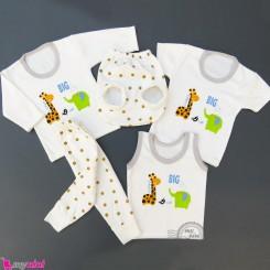 ست لباس 5 تکه نوزاد و کودک زرافه و فیل Baby clothes set
