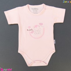 بلوز آستین کوتاه زیردکمه دار پنبه ای صورتی جونیورز Juniors baby pink shirt