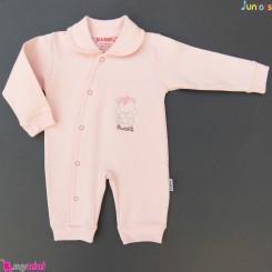 سرهمی پنبه ای صورتی جونیورز Juniors baby pink sleepsuit
