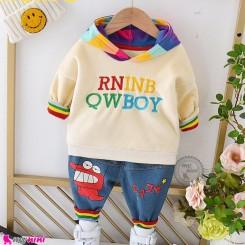 ست هودی و شلوار گرم خز 2 تکه کرمی رنگین کمان Baby warm clothes set