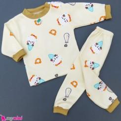 ست بلوز و شلوار گرم توکُرکی بچگانه کرمی بستنی Baby warm clothes set