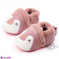 پاپوش داخل خز استُپ دار وارداتی نوزاد و کودک صورتی پنگوئن  baby first walking unicorn shoes