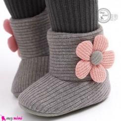 بوت خزدار گرم وارداتی نوزاد و کودک طوسی گل Baby warm boot