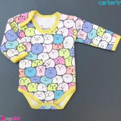 بادی بلند نخی نوزاد و کودک طرح خرسی رنگارنگ baby long sleeve bodysuit