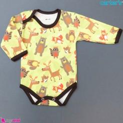 بادی بلند نخی نوزاد و کودک طرح زرد فسفری حیوانات baby long sleeve bodysuit