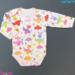 بادی بلند نخی نوزاد و کودک صورتی حیوانات baby long sleeve bodysuit