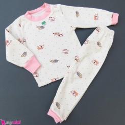 ست بلوز و شلوار گرم توکُرکی بچگانه سفید صورتی جغد و فیل Baby warm clothes set