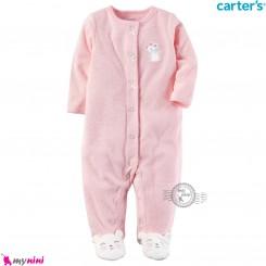 سرهمی گرم مخملی کارترز اورجینال صورتی موش Carters baby fleece pajamas