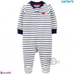 سرهمی گرم مخملی کارترز اورجینال راه راه سرمه ای سفید خرچنگ Carters baby fleece pajamas