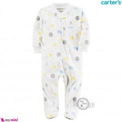 سرهمی گرم مخملی کارترز اورجینال سفید ماه و ستاره Carters baby fleece pajamas