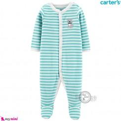 سرهمی گرم مخملی کارترز اورجینال سبز راه راه سگ Carters baby fleece pajamas