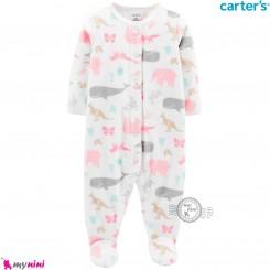 سرهمی گرم مخملی کارترز اورجینال سفید نهنگ Carters baby fleece pajamas