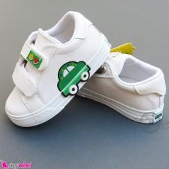 کفش اسپرت بچگانه ماشین سفید سبز Baby shoes