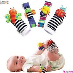 پاپوش و مچبند جغجغه ای نوزاد زنبور لمِیز Lamaze foot and wrist rattle