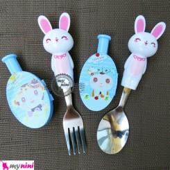 قاشق و چنگال استیل خرگوش سفید و درپوش آبی Cartoon Tableware