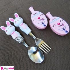 قاشق و چنگال استیل خرگوش سفید و درپوش صورتی Cartoon Tableware