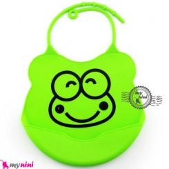 پیشبند کاسه ای سیلیکونی سبز قورباغه Baby silicone bib