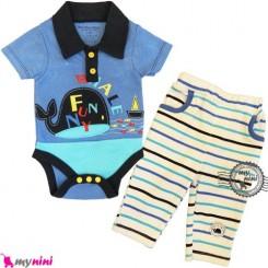 ست بادی آستین کوتاه و شلوار نهنگ تایلندی Baby bodysuit & pants