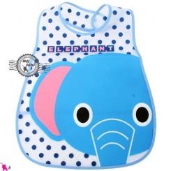 پیشبند نایلونی بچگانه جیب دار آبی فیل Baby waterproof bib