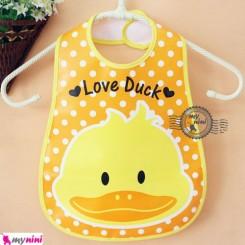 پیشبند نایلونی جیب دار نارنجی اردک Baby waterproof bib