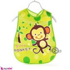 پیشبند نایلونی بچگانه جیب دار سبز میمون Baby waterproof bib